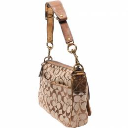 Coach Brown/Gold Signature Canvas/Leather And Suede Shoulder Bag 219418