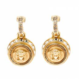 Versace Medusa Crystal Studded Gold Tone Drop Earrings 220565