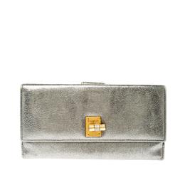 Saint Laurent Paris Grey Metallic Leather Turn Lock Flap Wallet 219961