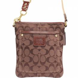 Coach Brown Signature Canvas Swingpack Crossbody Bag 219366