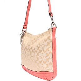 Coach Pink/Beige Signature Fabric Crossbody Bag 219364