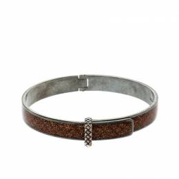 Bottega Veneta Intrecciato Brown Glitter Oxidized Silver Narrow Bracelet M 220815
