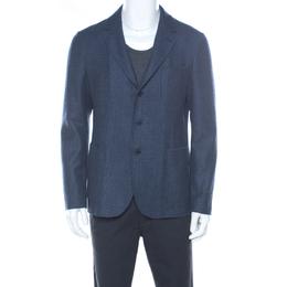 Loro Piana Blue Checked Cashmere Regular Fit Blazer L 217930