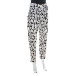 Paul & Joe Monochrome Cat Print Jacquard Silk Relaxed Poum Pants L 219423
