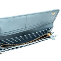 Prada Light Blue Saffiano Metal Leather Continental Flap Wallet 219951