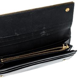 Prada Black Saffiano Metal Leather Metal Bar Wallet 219957