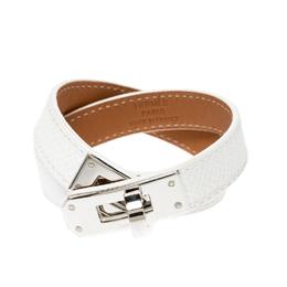 Hermes Kelly Double Tour White Leather Palladium Plated Wrap Bracelet S 220557
