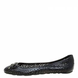 Jimmy Choo Black Perforated Leather Walsh Bow Detail Ballet Flats Size 41 219225