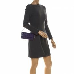 Dior Purple Cannage Leather Lady Dior Rendez-Vous Wallet On Chain 218698