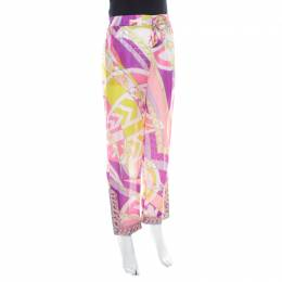 Emilio Pucci Multicolor Abstract Print Sheer Silk Elasticized Waist Trousers S 219436