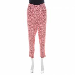 Paul & Joe Red Strawberry Print Cotton Blend Relaxed Tapered Pants M 219432