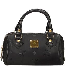 MCM Black Signature Visetos Nylon and Leather Heritage Boston Bag 214401