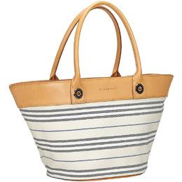 Burberry Beige Striped Canvas Shoulder Bag