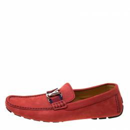 Louis Vuitton Red Suede Monte Carlo Loafers Size 43 215403