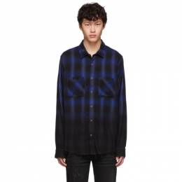 Amiri Black and Blue Ombre Flannel Shirt 192886M19201601GB