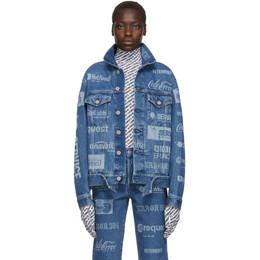 Vetements Blue Fully Branded Denim Jacket 192669F06000101GB