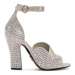 Prada Silver Crystal Embellished Strappy Heeled Sandals 192962F12500309GB