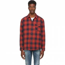 Nudie Jeans Red and Black Flannel Check Sten Shirt 192078M19200905GB