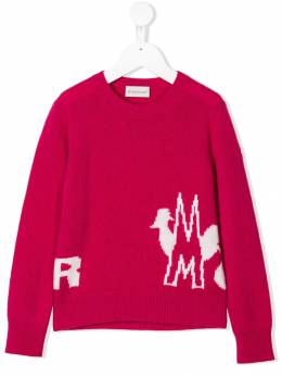 Moncler Kids - jacquard logo knitted sweater 3565A995595569599000
