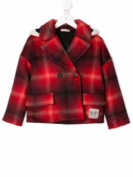 Nº21 Kids - checked button-front coat 550N66056N5669559695