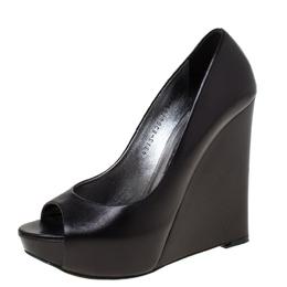 Gina Black Leather Peep Toe Wedge Platform Pumps Size 38.5 218967