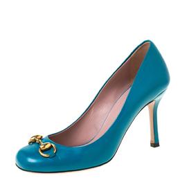 Gucci Turquoise Patent Leather Jolene Horsebit Pumps Size 36 219840