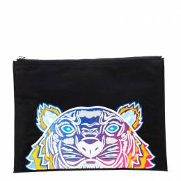 Kenzo Multicolored Tiger Embroidered Canvas A4 Clutch 218639