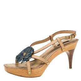Louis Vuitton Beige/Blue Monogram Denim Floral Platform Strappy Sandals Size 39.5 219858