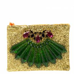 Mawi Gold Glitter Acrylic Perspex Clutch 219818
