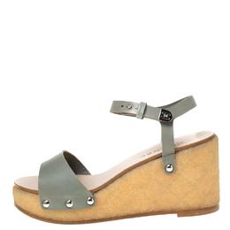 Chanel Grey Leather Ankle Strap Platform Wedge Sandals Size 40.5 219835