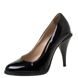 Fendi Black Patent Leather Logo Heel Pumps Size 35 219847