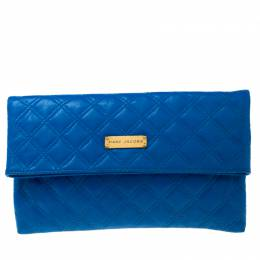 Marc Jacobs Blue Quilted Leather Eugenie Cobalt Clutch 217458