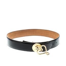 Moschino Black Patent Leather Heart Pendant Belt 95CM 218919