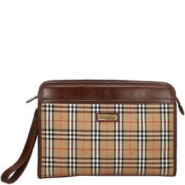 Burberry Light Brown Haymarket Check Canvas Clutch Bag 215304