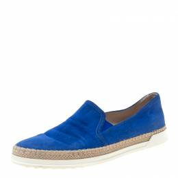 Tod's Blue Suede Espadrille Slip On Sneakers Size 38.5 216515