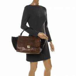 Celine Brown Python Leather Medium Trapeze Top Handle Bag 212576