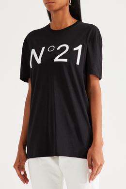 Черная футболка с белым логотипом No. 21 35148628