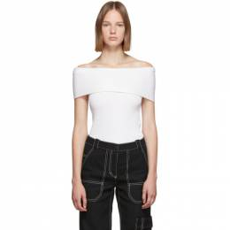 3.1 Phillip Lim Off-White Merino Series Ribbed Off Shoulder Sweater 192283F11000901GB