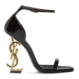 Saint Laurent Black Patent Opyum Strappy Sandals 192418F12500208GB