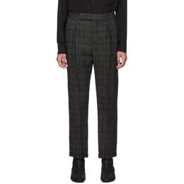 Saint Laurent Black and Grey Tweed Trousers 192418M19100305GB