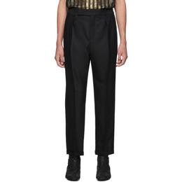 Saint Laurent Black Grain De Poudre Cuffed Trousers 192418M19100403GB