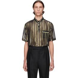Saint Laurent Black and Gold Silk Lame Stripes Polo Shirt 192418M19201203GB