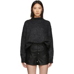 Saint Laurent Black Oversized Crewneck Sweater Dress 192418F05200301GB