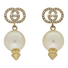 Gucci Gold GG Pearl Earrings 192451F02200601GB