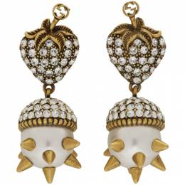 Gucci Gold Studded Pearl Strawberry Earrings 192451F02200201GB
