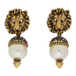 Gucci Gold Pearl Lion Head Earrings 192451F02200401GB