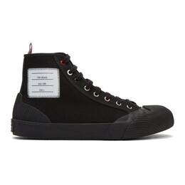 Thom Browne Black Vulcanized 4-Bar High-Top Sneakers 192381M23600106GB