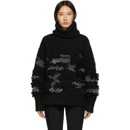 MCQ by Alexander McQueen Black Crochet Tassel Turtleneck Sweater 192114F09900401GB