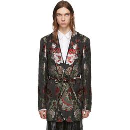 Comme Des Garcons Homme Plus Black and Multicolor Floral Belted Blazer 192347M19500302GB