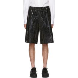 Comme Des Garcons Homme Plus Black Foil Jersey Shorts 192347M19300402GB